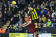 Bradford City forward James Hanson and Burton Albion defender Phil Edwards challenge for the ball in the air during the Sky Bet League 1 match between Burton Albion and Bradford City at the Pirelli Stadium, Burton upon Trent, England on 6 February 2016. Photo by Aaron Lupton.