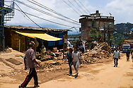 A general view of the destruction in Chautara, Sindhupalchowk, Nepal on 29 June 2015. Sindhupalchowk was one of the most devastated by the April 25th earthquake and aftershocks that killed over 8000 people and injured over 19000 people, destroying over half a million houses. Photo by Suzanne Lee for SOS Children's Villages