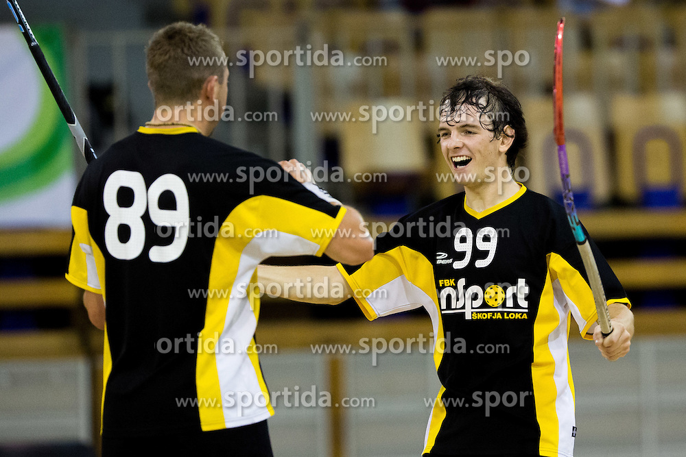 Janez Alic and Tadej Drlink of Intersport Skofja Loka celebrate during match between Spindl Ubals and Intersport Skofja Loka in Floorball Slo Open 2012, on August 26, 2012 in Ljubljana, Slovenia.  (Photo by Matic Klansek Velej / Sportida.com)