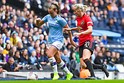 Manchester City Women forward Georgia Stanway (10) and Manchester United Women defender Millie Turner (21) during the FA Women's Super League match between Manchester City Women and Manchester United Women at the Sport City Academy Stadium, Manchester, United Kingdom on 7 September 2019.
