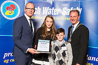 Dublin - Ireland, Tuesday 8th November 2016:<br /> Simon Coveney TD, Minister for Housing, Planning & Local Government with 'Seiko Just In Time Award' recipient Emily Duggan (Laois) with her brother Sean and Martin O'Sullivan, Chairman of Irish Water Safety at the annual Irish Water Safety Awards held at Dublin Castle.  Photograph: David Branigan/Oceansport