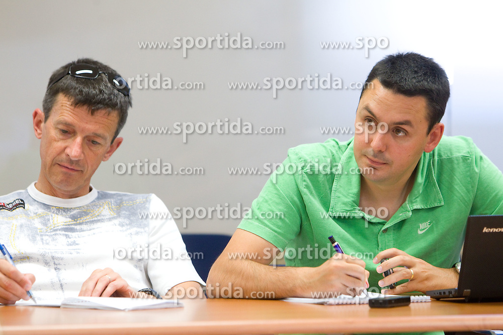 Joze Okorn of Dnevnik and Martin Pavcnik of Sportal at press conference of Slovenian Ski Association, on June 21, 2011, in SZS, Ljubljana, Slovenia. (Photo by Vid Ponikvar / Sportida)