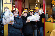 Repro Free: 05/12/2012.Terri Deegan, Susanne Quinn, Sarah Hogan and  James Gillespie are pictured as as Betfair gave away 150 free turkeys to members of the public as part of their ?Beat the Budget? campaign. Pic Andres Poveda.