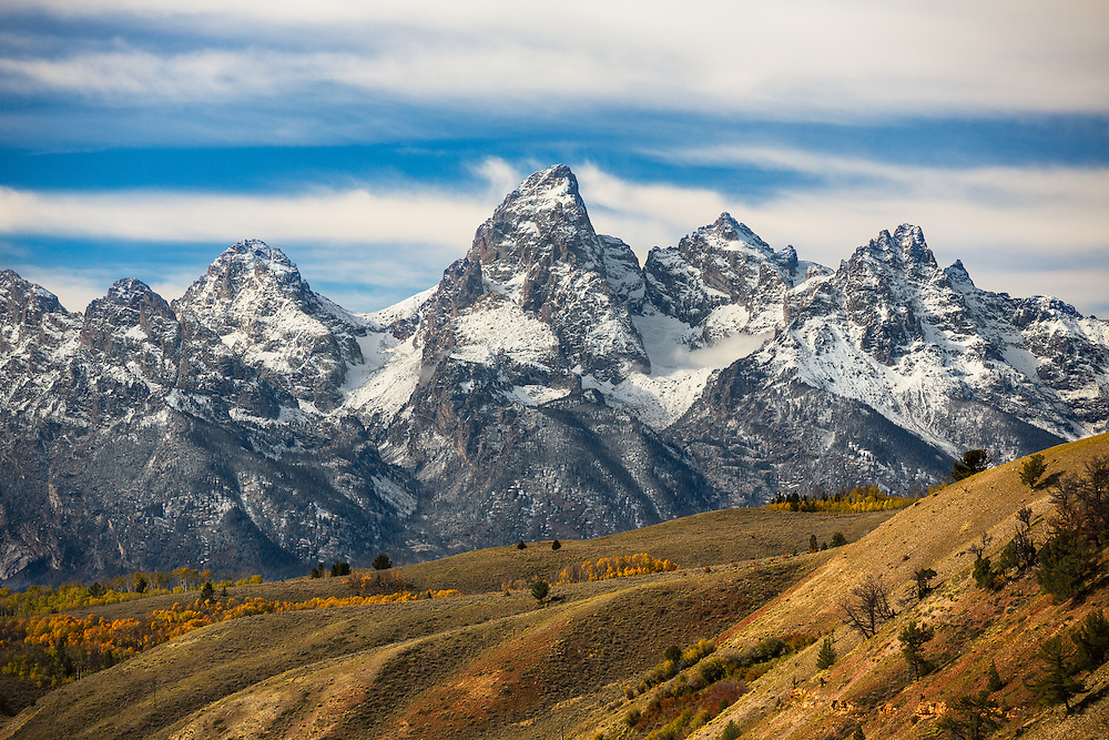 The Teton range is normally photographed from the valley floor.  We were on a road above the small town of Kelly when we found this vantage point.