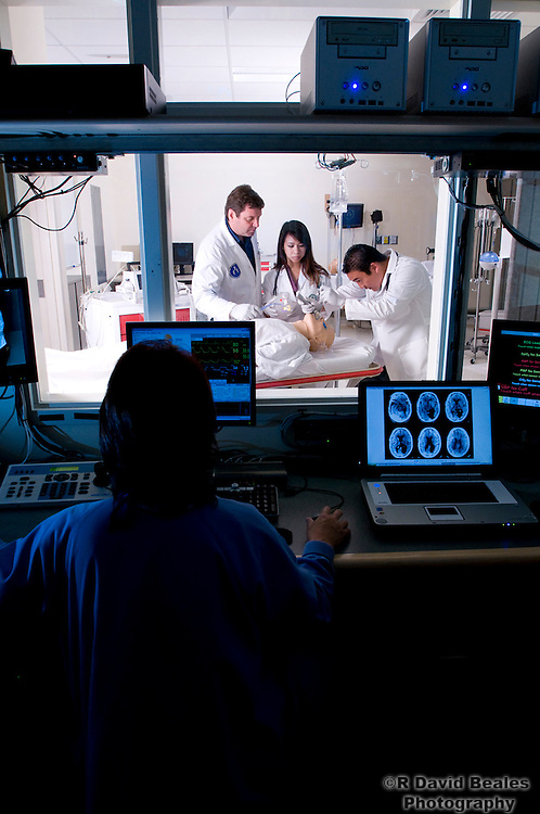 Medical students pratice in the simulation labs of the University of Hawaii JABSOM.