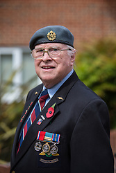 @Licensed to London News Pictures 08/05/2020. Maidstone, UK.. Former soldier in the RAF Dental Branch Roy Chopping, 87, waits patiently for the bugler to sound to pay tribute to VE75 Day at Queen Elizabeth Court in the Royal British Legion village in Aylesford, Kent. RBLI also wanted to use Two Minute Silence to honour the service and sacrifice of the Second World War generation and reflect on the devastating impact Covid-19 has had on so many lives across the world.  Photo credit: Manu Palomeque/LNP