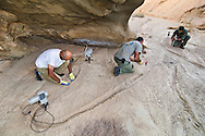Hamid, Houman and Babak setting up camera trap at Kavir cave site, Kavir National Park, Iran