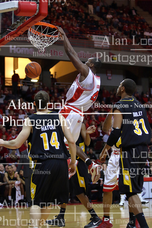 18 February 2009: Dinma Odiakosa gets inside for a power slam. The Illinois State University Redbirds took the charge out of the Wichita State Shockers 74-59 on Doug Collins Court inside Redbird Arena on the campus of Illinois State University in Normal Illinois