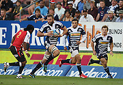 Andries Bekker runs with the ball with Bryan Habana and Gary van Aswegen in support during the Super Rugby (Super 15) fixture between the DHL Stormers and the Lions held at DHL Newlands Stadium in Cape Town, South Africa on 26 February 2011. Photo by Jacques Rossouw/SPORTZPICS