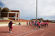 Mar 10, 2018; Cape town, South Africa; Coach Sharrieffa Barksdale of the USA (1984 Los Angeles Olympic Games 400m hurdles gold medal winner) taking some athletes through her drills during the TrackGirlz events at University of Western Cape on March 10, 2018 in Cape Town, South Africa. (Roger Sedres/Image of Sport)