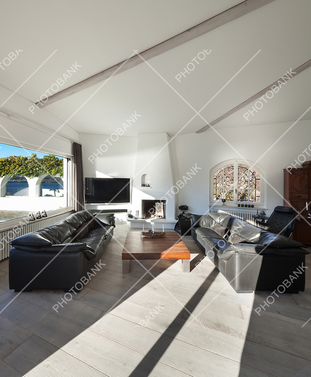 Interior of house, comfortable living room, two leather divans