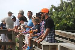 People watch the churning waves brought by hurricane Dorian at Hightower Beach Park in Satellite Beach , on Tuesday, September 3, 2019. Photo by Ricardo Ramirez Buxeda/ Orlando Sentinel/TNS/ABACAPRESS.COM