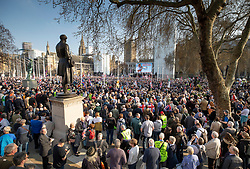 © Licensed to London News Pictures. 29/03/2019. London, UK. Anti-Brexit demonstrators fill Parliament Square after MPs voted against the Withdrawal Agreement in the House of Commons. Photo credit: Peter Macdiarmid/LNP