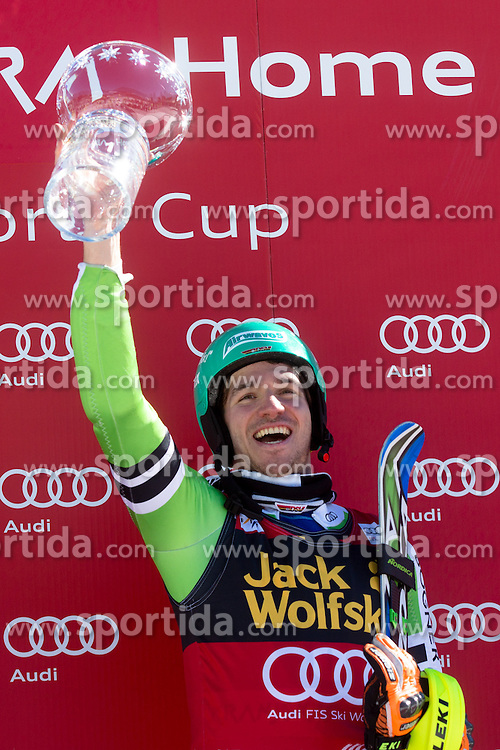 Winner NEUREUTHER Felix of Germany at medal ceremony during the 2nd Run of Men's Slalom - Pokal Vitranc 2014 of FIS Alpine Ski World Cup 2013/2014, on March 9, 2014 in Vitranc, Kranjska Gora, Slovenia. Photo by Matic Klansek Velej / Sportida
