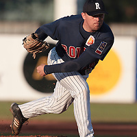06 June 2010: Giovanni Ouin of Rouen pitches against AVG Draci Brno during the 2010 Baseball European Cup match won 10-8 by the Rouen Huskies over AVG Draci Brno, at the AVG Arena, in Brno, Czech Republic.