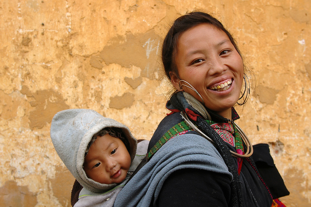 Smiling mother and child. Sapa, Vietnam.