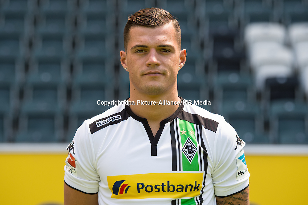 German Soccer Bundesliga 2015/16 - Photocall Borussia Moenchengladbach on 10 July 2015 in Moenchengladbach, Germany: Granit Xhaka