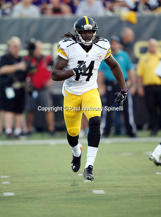 Pittsburgh Steelers wide receiver Sammie Coates (14) goes in motion during the 2015 NFL Pro Football Hall of Fame preseason football game against the Minnesota Vikings on Sunday, Aug. 9, 2015 in Canton, Ohio. The Vikings won the game 14-3. (©Paul Anthony Spinelli)
