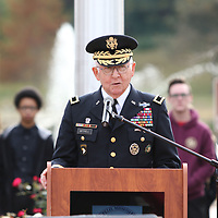 Brigadier General Ed Mitchell was the speaker for Sunday's Veterans Day Ceremony held at Veterans Park