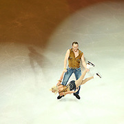 Caydee Denney and John Coughlin are seen during the Smucker's Skating Spectacular at the TD Garden on January 12, 2014 in Boston, Massachusetts.