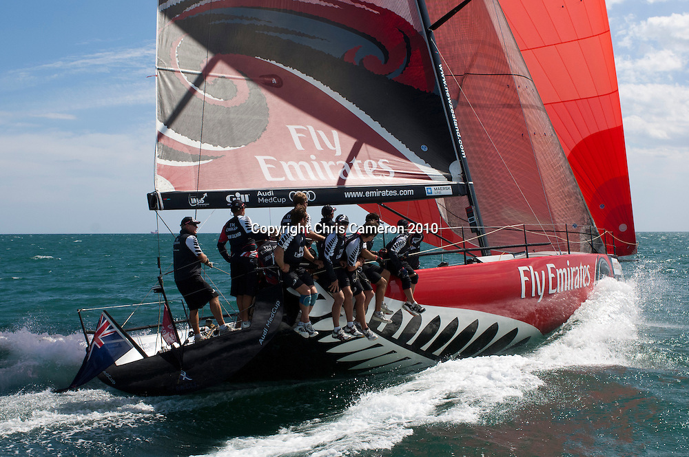 Emirates Team New Zealand sail two unofficial practice races against other Audi MedCup teams before the Trofee of Sardinia regatta. 19/10/2010