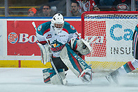 KELOWNA, CANADA - MARCH 7: James Porter #1 of the Kelowna Rockets makes a first period save against the Vancouver Giants  on March 7, 2018 at Prospera Place in Kelowna, British Columbia, Canada.  (Photo by Marissa Baecker/Shoot the Breeze)  *** Local Caption ***