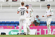 Steven Patterson and Jonny Bairstow of Yorkshire celebrate after taking the wicket of Sam Curran during the Specsavers County C'ship Div One match at the Kia Oval, London<br /> Picture by Simon Dael/Focus Images Ltd 07866 555979<br /> 11/05/2018