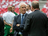 FOOTBALL: Manager Mick McCarthy (Ireland) talking to coach Åge Hareide (Denmark) before the EURO 2020 Qualifier match between Denmark and Ireland at Parken Stadium on June 7, 2019 in Copenhagen, Denmark. Photo by: Claus Birch / ClausBirchDK.