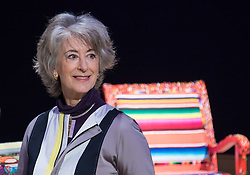 "Bonhams, London, February 29th 2016. Actress Maureen Lipman pictured during a photocall for ""Sitting Pretty"", featuring unique, hand painted and upholstered chairs made by 30 celebrities and artists, at Bonhams ahead of their auction in support of a leading AIDS charity, CHIVA Africa.<br /> ©Paul Davey<br /> FOR LICENCING CONTACT: Paul Davey +44 (0) 7966 016 296 paul@pauldaveycreative.co.uk"