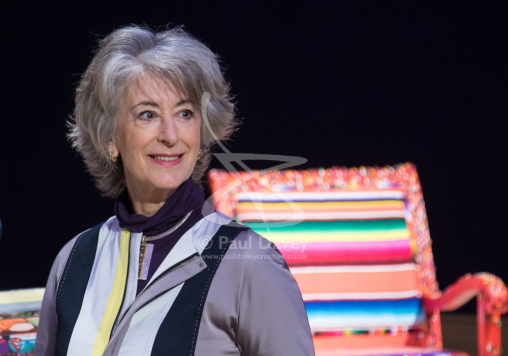 """Bonhams, London, February 29th 2016. Actress Maureen Lipman pictured during a photocall for """"Sitting Pretty"""", featuring unique, hand painted and upholstered chairs made by 30 celebrities and artists, at Bonhams ahead of their auction in support of a leading AIDS charity, CHIVA Africa.<br /> ©Paul Davey<br /> FOR LICENCING CONTACT: Paul Davey +44 (0) 7966 016 296 paul@pauldaveycreative.co.uk"""