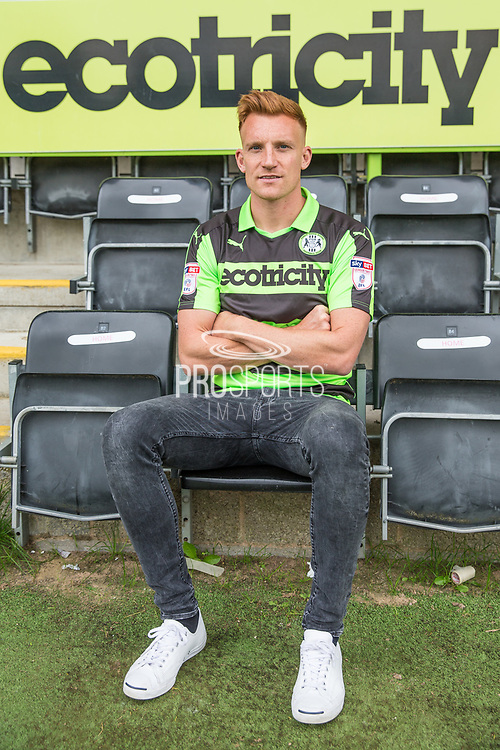 Mark Roberts signing a contract with Forest Green Rovers at the New Lawn, Forest Green, United Kingdom on 24 August 2017. Photo by Shane Healey.