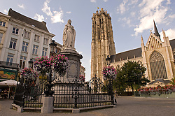 The Rombold Cathedral and statue of Margaret of Austria are well known Mechelen landmarks which are situated next to the Grote Markt,  in the city center of Mechelen, Belgium, on Thursday, Sept. 11,2008.  Margaret of Austria was the Regent of Flanders in the 15th century. (Photo © Jock Fistick)