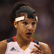 Alyssa Thomas, Connecticut Sun, playing with a face mask to protect her injured nose during the Connecticut Sun Vs Tulsa Shock WNBA regular season game at Mohegan Sun Arena, Uncasville, Connecticut, USA. 3rd July 2014. Photo Tim Clayton