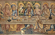 The Last Supper, detail, on the Tapestry of the Last Supper, 15th century, by an unknown artist, in linen, wool, silk and gold thread, in the collection of the Museum of Tortosa Cathedral, in the Cathedral of St Mary, designed by Benito Dalguayre in Catalan Gothic style and begun 1347 on the site of a Romanesque cathedral, consecrated 1447 and completed in 1757, Tortosa, Catalonia, Spain. Picture by Manuel Cohen