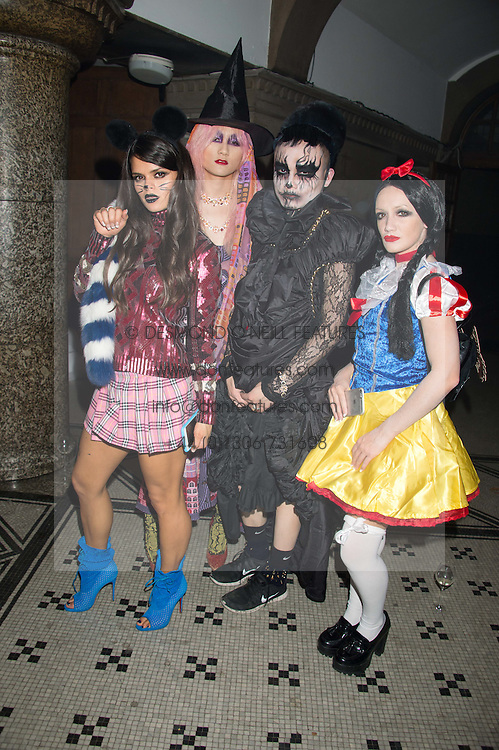 Left to right, BIP LING, RYAN LO, ADAM CHEN and LOUBY McLOUGHLIN at the Veuve Clicquot Widow Series launch party hosted by Nick Knight and Jo Thornton MD Moet Hennessy UK held at The College, Central St.Martins, 12-42 Southampton Row, London on 29th October 2015.