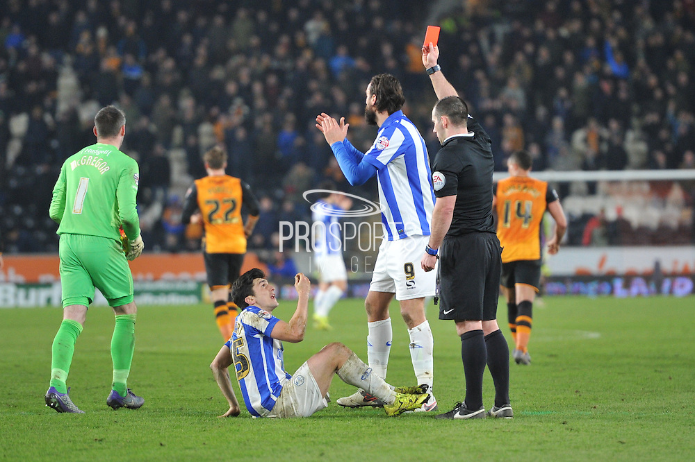 Fernando Forestieri of Sheffield Wednesday receives red card and is sent off during the Sky Bet Championship match between Hull City and Sheffield Wednesday at the KC Stadium, Kingston upon Hull, England on 26 February 2016. Photo by Ian Lyall.