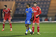 Josh Doherty and Callum Harriott in action during the EFL Sky Bet League 2 match between Colchester United and Crawley Town at the JobServe Community Stadium, Colchester, England on 1 January 2020.