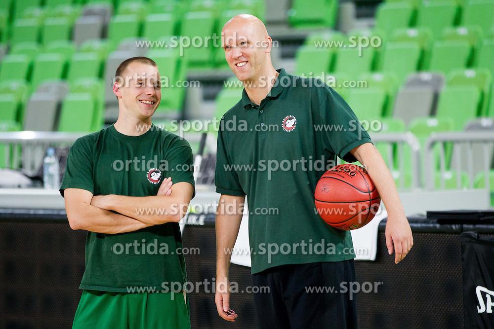 Sasa Ogrizovic and Andrej Zakelj during practice session of KK Union Olimpija 1 day before Euroleague Basketball match against Fenerbahce Ulker Istanbul (TUR) on October 18, 2012 in Arena Stozice, Ljubljana, Slovenia. (Photo By Vid Ponikvar / Sportida)
