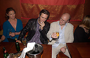 Michelle Gomez ( Mrs. Jack Davenport) Jack Davenport and Toby Young, 'How to lose Friends and alienate people' by Toby Young performed at the  Soho Theatre, party at Opium. 30 April 2003. © Copyright Photograph by Dafydd Jones 66 Stockwell Park Rd. London SW9 0DA Tel 020 7733 0108 www.dafjones.com