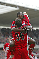 Photo: Andrew Unwin.<br /> Middlesbrough v Bolton Wanderers. The Barclays Premiership. 26/03/2006.<br /> Middlesbrough's George Boateng congratulates Mark Viduka (#36) on scoring the second goal for their team.