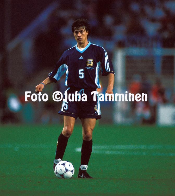 FIFA World Cup - France 1998.Matias Almeyda - Argentina.©Juha Tamminen