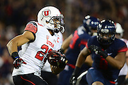 TUCSON, AZ - NOVEMBER 14: Running back Devontae Booker #23 of the Utah Utes runs with the football against the Arizona Wildcats in the first quarter at Arizona Stadium on November 14, 2015 in Tucson, Arizona.  (Photo by Jennifer Stewart/Getty Images)