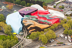 United States, Washington, Seattle. Aerial view of the Frank Gehry designed Museum of Pop Culture (MOPOP) formerly known as Experience Music Project (EMP).