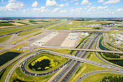 Nederland, Noord-Holland, Haarlemmermeer, 01-08-2016; A4 en Schipholtunnel, Schiphol Amsterdam Airport, drukte wegens vakantie en extra controles door de Marechausse in verband met terrorisme-dreiging<br /> Holiday traffic and traffic jams due to out additional patrols at Schiphol Airport carried out by military police carry out  following a terrorist threat.<br /> <br /> luchtfoto (toeslag op standard tarieven);<br /> aerial photo (additional fee required);<br /> copyright foto/photo Siebe Swart