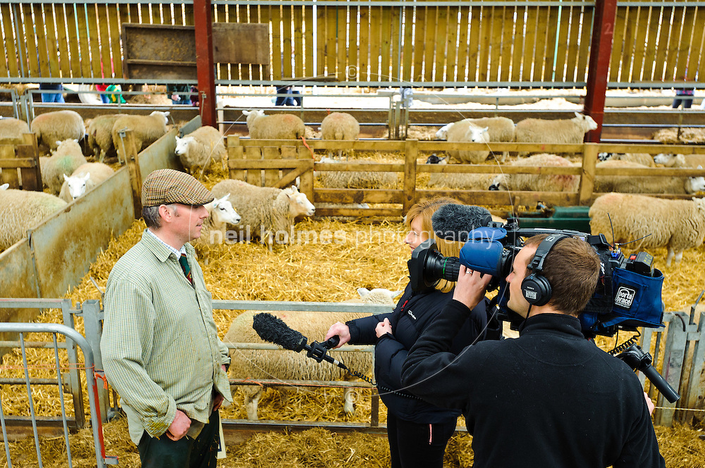 Lambing Sunday, 27th March 2011 at Bishop Burton College. Pictured Dominic Naylor (collage farm manager) interviewd by BBC Look North