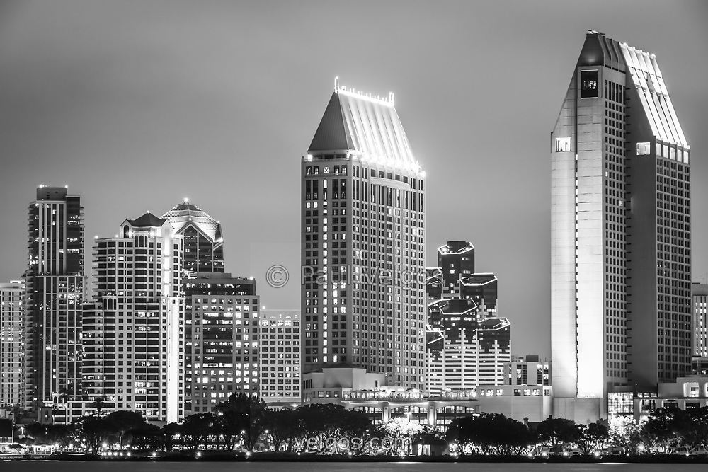 Black and White Photo of San Diego night skyline with downtown city office buildings and skyscrapers. Image is high resolution and was taken in 2012.