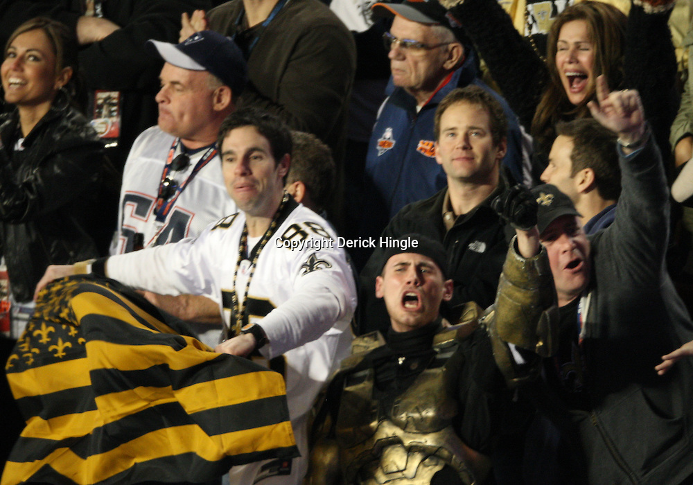 Feb 07, 2010; Miami Gardens, FL, USA; New Orleans Saints fans celebrate in the stands during a 31-17 win by the New Orleans Saints over the Indianapolis Colts in Super Bowl XLIV at Sun Life Stadium.  Mandatory Credit: Derick E. Hingle-US PRESSWIRE
