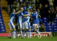 Birmingham celebrate Nicklas Bendtners goal
