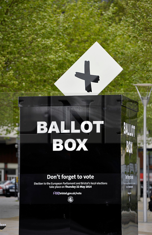 © Licensed to London News Pictures. 11/05/2014; Bristol, UK.  A giant ballot box is placed in Bristol city centre to remind people to vote in the European and in the local council elections on 22 May.<br /> Photo credit: Simon Chapman/LNP