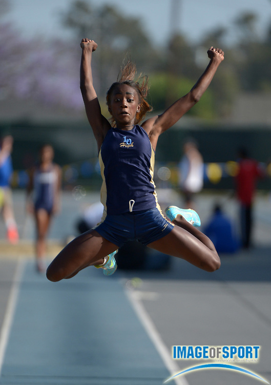 May 24, 2013; Norwalk, CA, USA; Kira Moreland of Los Osos places third in the girls long jump at 20-2 1/4 in the 2013 CIF Southern Section Masters Meet at Cerritos College.